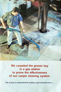 We carpeted the greaswy bay in a gas station to prove teh effectiveness of our carpet cleaning system.